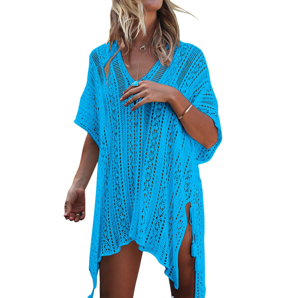 Elfremore Womens Knitted Crochet Tassel Open Side Swimsuit Beach Cover up