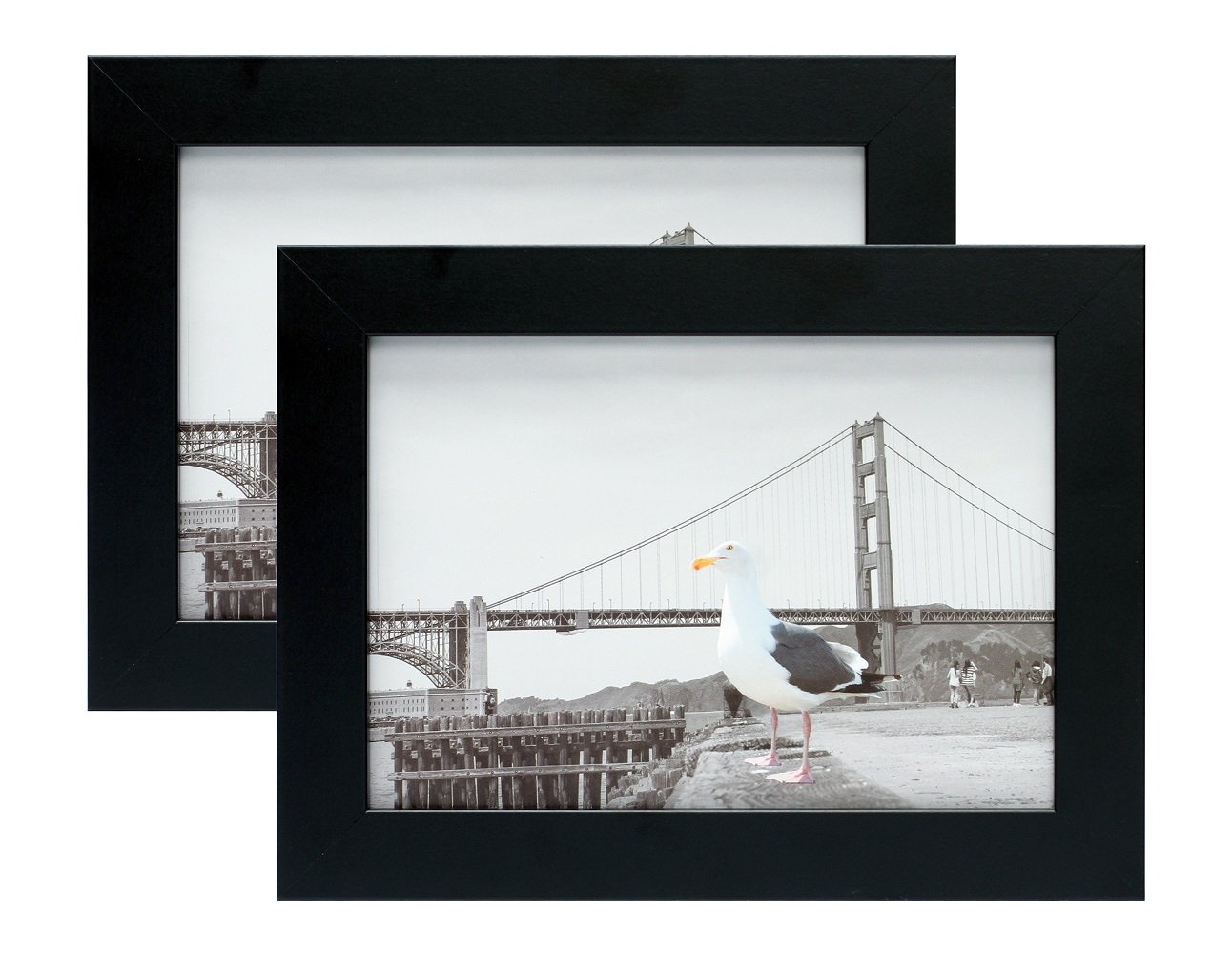 Frametory, Set of Two 5x7 Black Picture Frame - Made to Display Pictures 5x7 Photo - Wide Molding Real Glass - Preinstalled Wall Mounting Hardware (5x7 - Set of 2, Black)