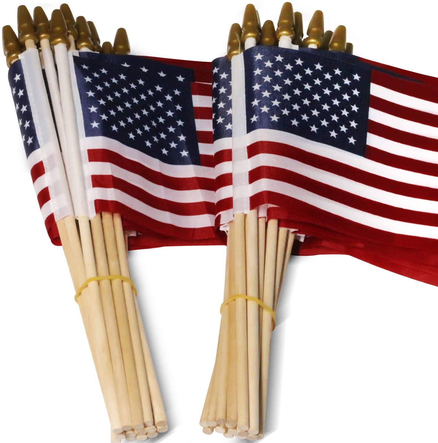 Anley LOT of 50 USA 4x6 in Wooden Stick Flag - July 4th Decoration, Veteran Party, Grave Marker, etc. - Handheld American Flag with Kid Safe Golden Spear Top (Pack of 50)
