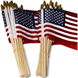 Anley LOT OF 50 - USA 4x6 in Wooden Stick Flag - July 4th Decoration, Veteran Party, Grave Marker, etc. - HandHeld American F