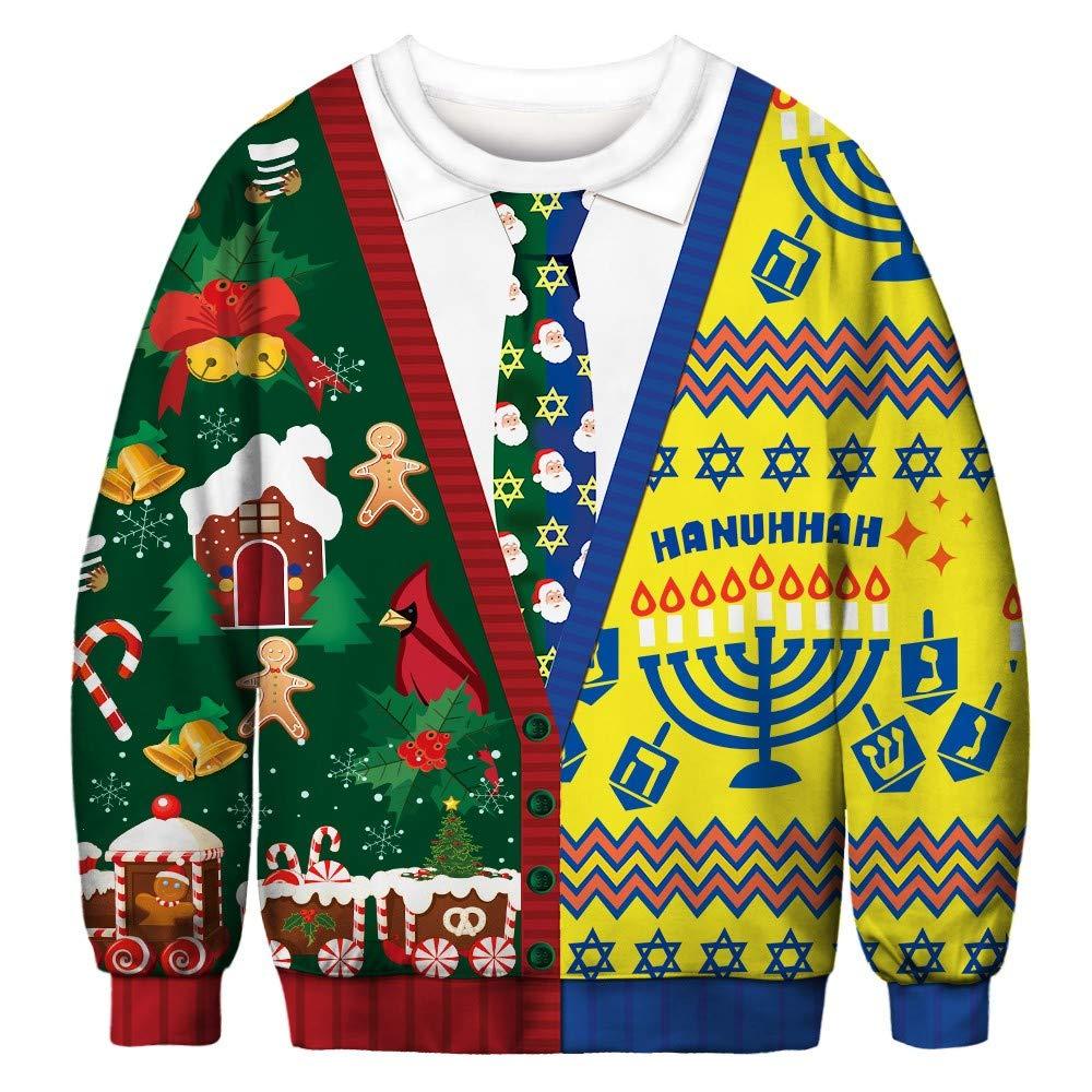 BaZhaHei Sweatshirt Femme Homme Unisexe Imprim/é R/étro Pull No/ël Grande Taille Fantaisie Christmas Pull Top Tricot/é Manches Longues