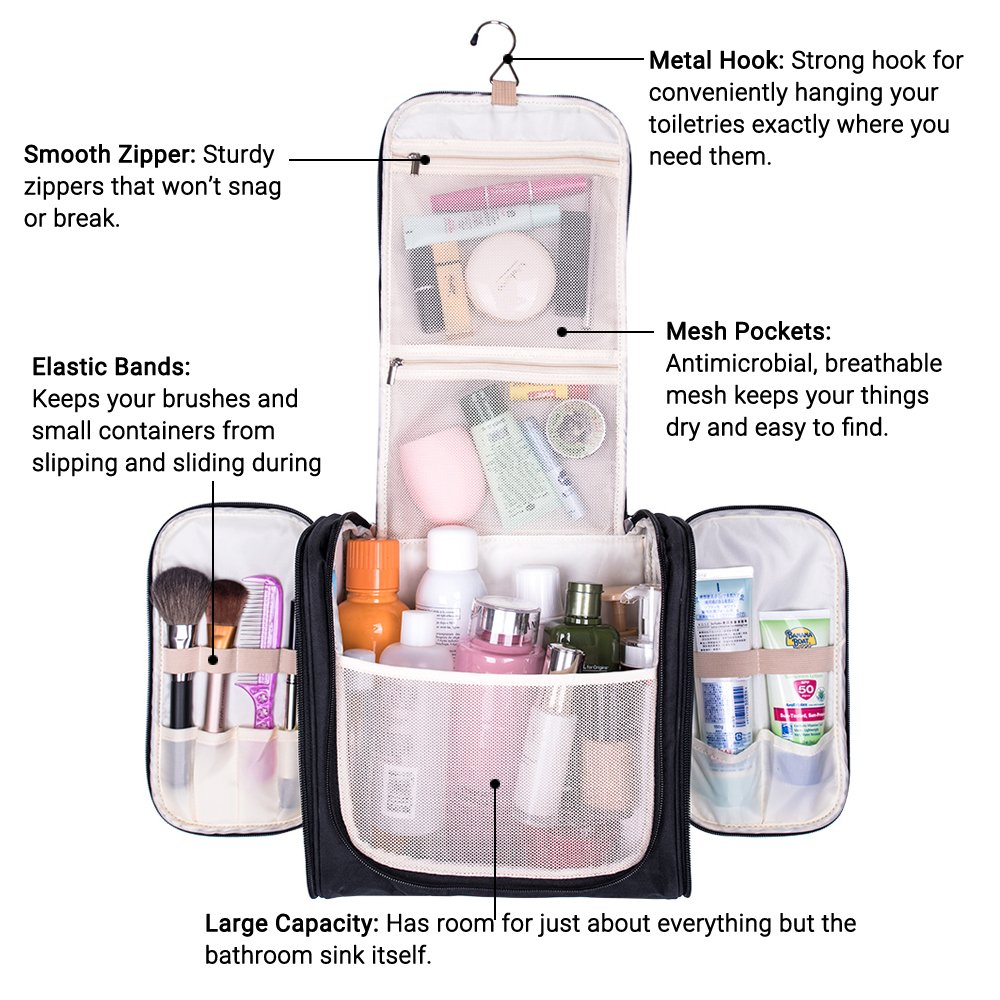 Large Hanging Travel Toiletry Bag - MelodySusie Heavy Duty Waterproof Makeup Organizer Bag Shaving Kit Toiletry Bag for Travel Accessories, Shampoo, Cosmetic, Personal Items by MelodySusie (Image #3)