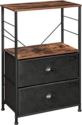 SONGMICS Nightstand, Industrial Bedside Table with 2 Fabric Drawers, Storage Shelves, Vertical Dresser Storage Tower with Wooden Top, Metal Frame, Labels, Rustic Brown and Black ULVT03H
