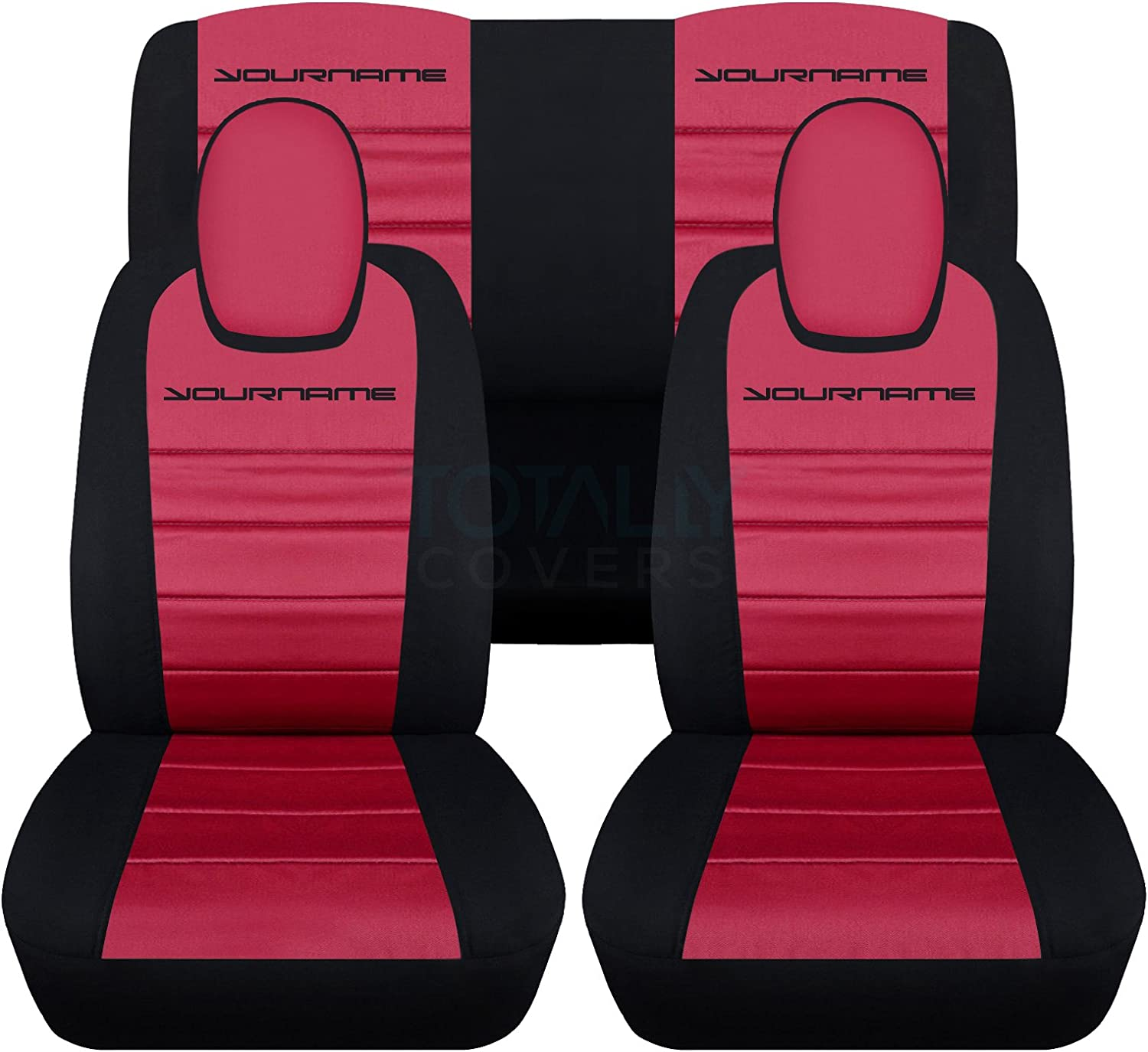 Coupe//Convertible Belt Holder 5th Generation Chevrolet Totally Covers Compatible with 2010-2015 Chevy Camaro 2-Tone Seat Covers w Your Name//Text: Black /& Blue Full Set 22 Colors