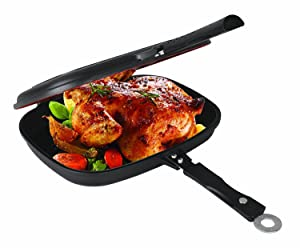 Uniware Super Quality Non-Stick Coating Double Grill Pan, Rectangular, Magnetic Bakelite Handle, 12.6 x 9.6 x 2.6 Inch