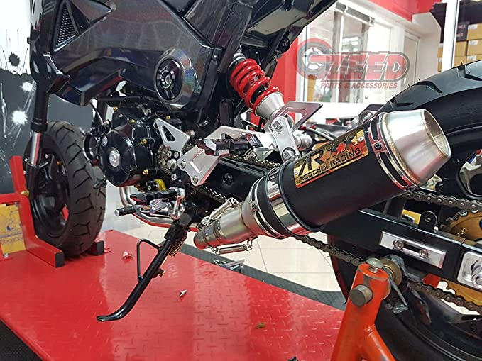 Black Blue Dual Layer Ending ISTUNT Motorcycle Complete Exhaust Fit for Honda Grom Msx125 2013-2020 without Baffle Muffler