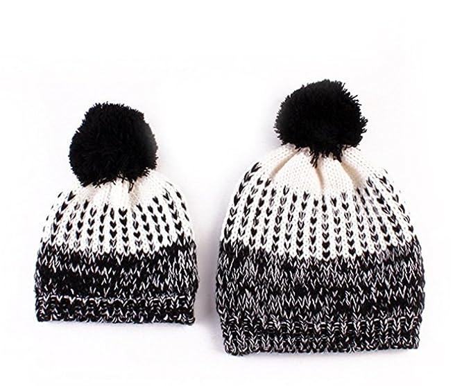 68789eb4971 Parent-child Knit Hat Winter Warm Crochet Family 2pcs Beanie Cap For Mom  Baby (