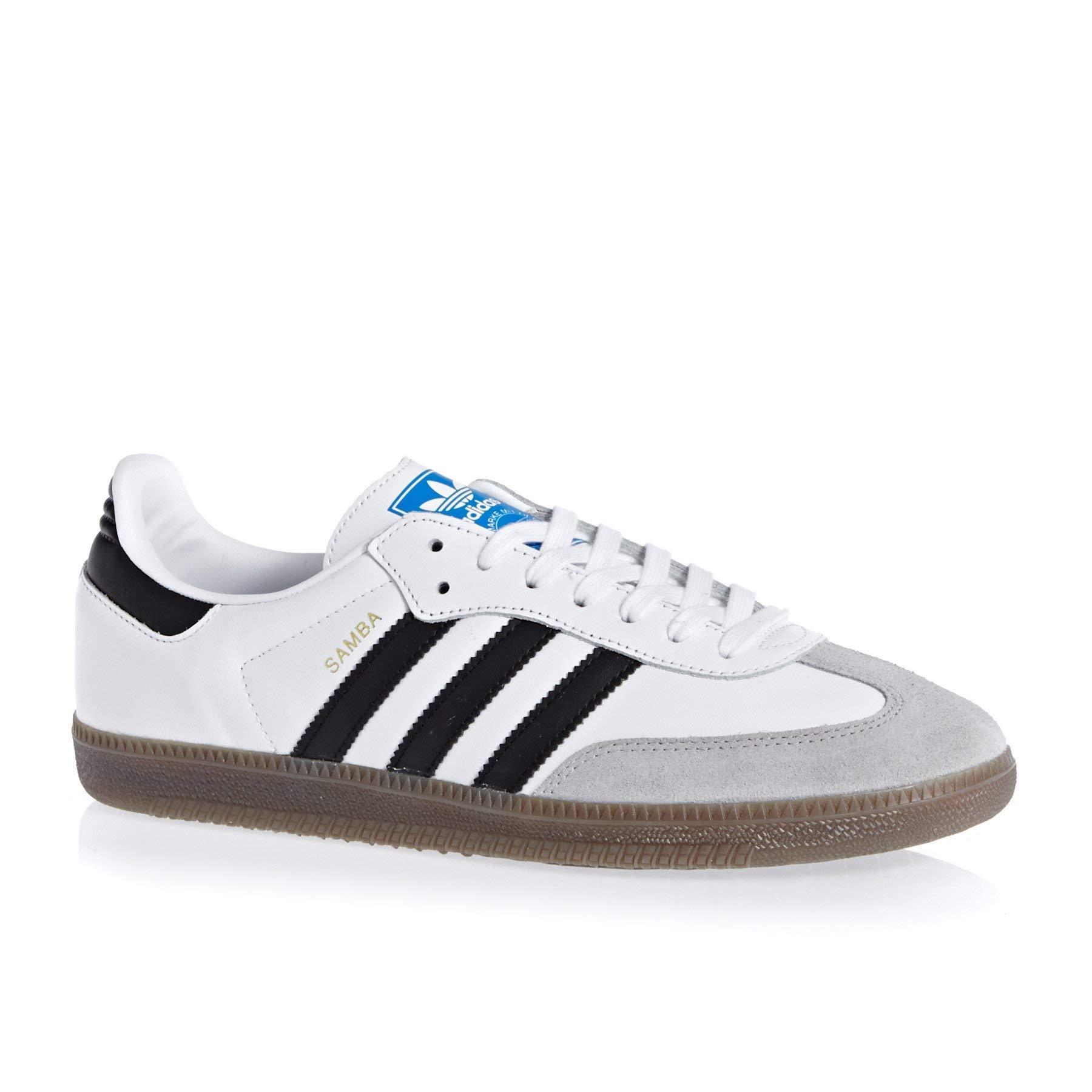 adidas Mens Samba Leather Suede White Black Granite Trainers 7.5 US