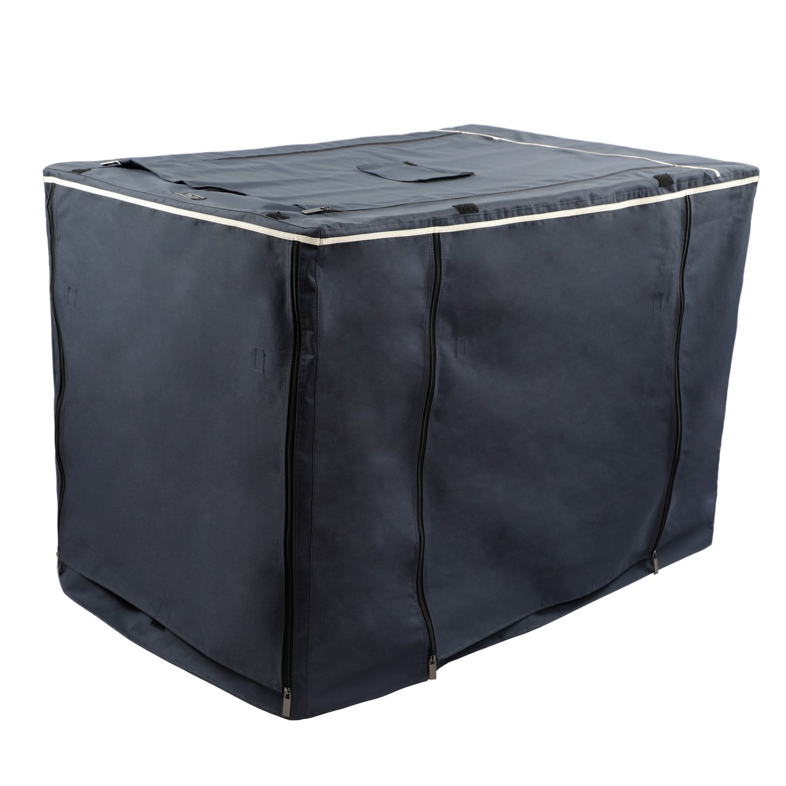 """Petsfit Oxford Cloth Pet Kennel Cover for Wire Dog Crates 42""""L x 28""""W x 30""""H, With Three-Side and Top Windows, Back Zipper, Dark Blue by Petsfit (Image #7)"""