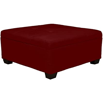 Excellent 36 X 36 X 18 High Tufted Padded Hinged Storage Ottoman Bench Microfiber Suede Cardinal Red Inzonedesignstudio Interior Chair Design Inzonedesignstudiocom