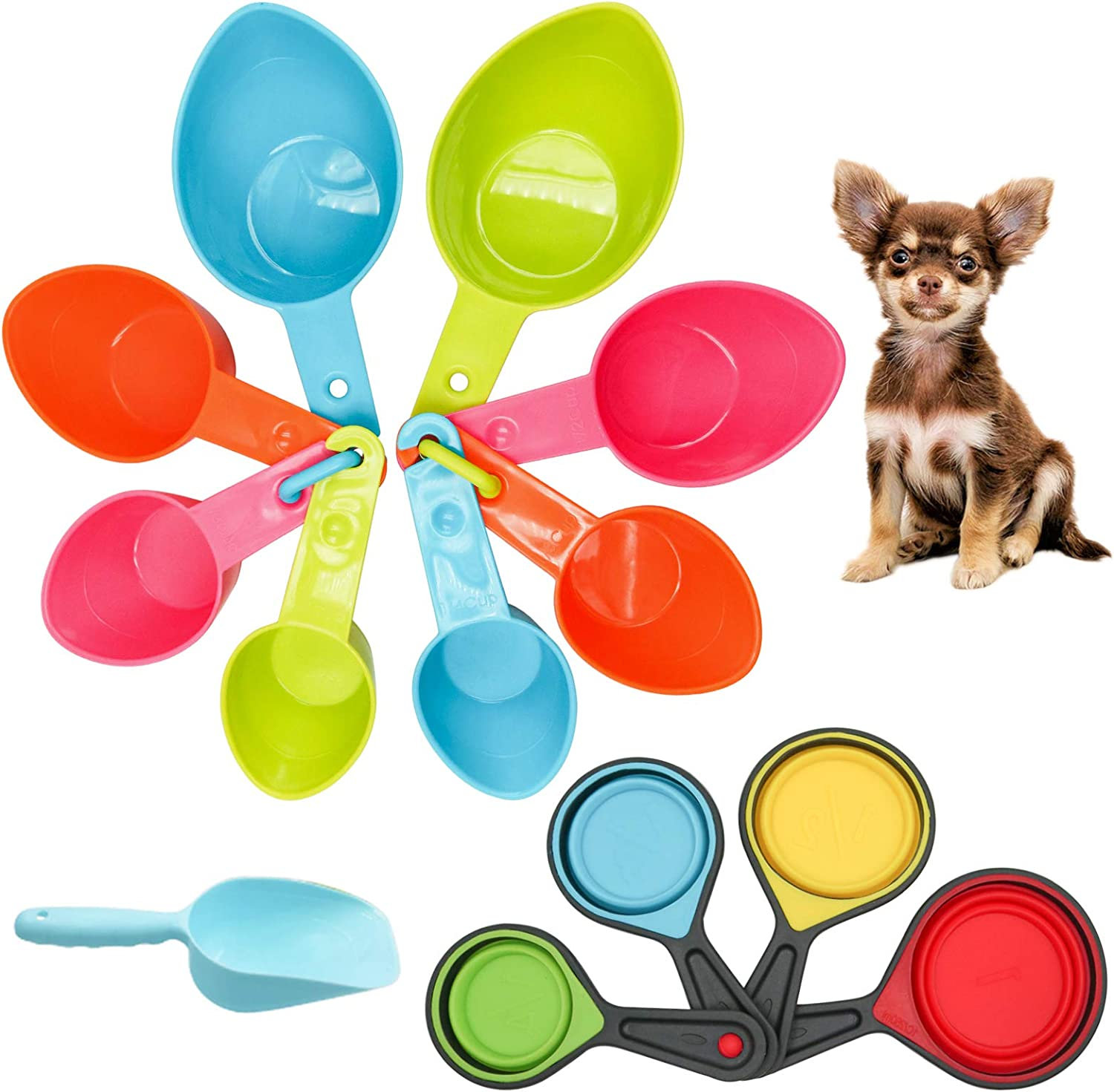 Roundler Pet Food Scoop Set, 4 Sizes Plastic Measuring Cups & 4 Sizes Collapsible Silicone Pet Measuring Scoops for Dog Cat Bird Guinea Pig Ferret and Other Small Animals Dry Food Water