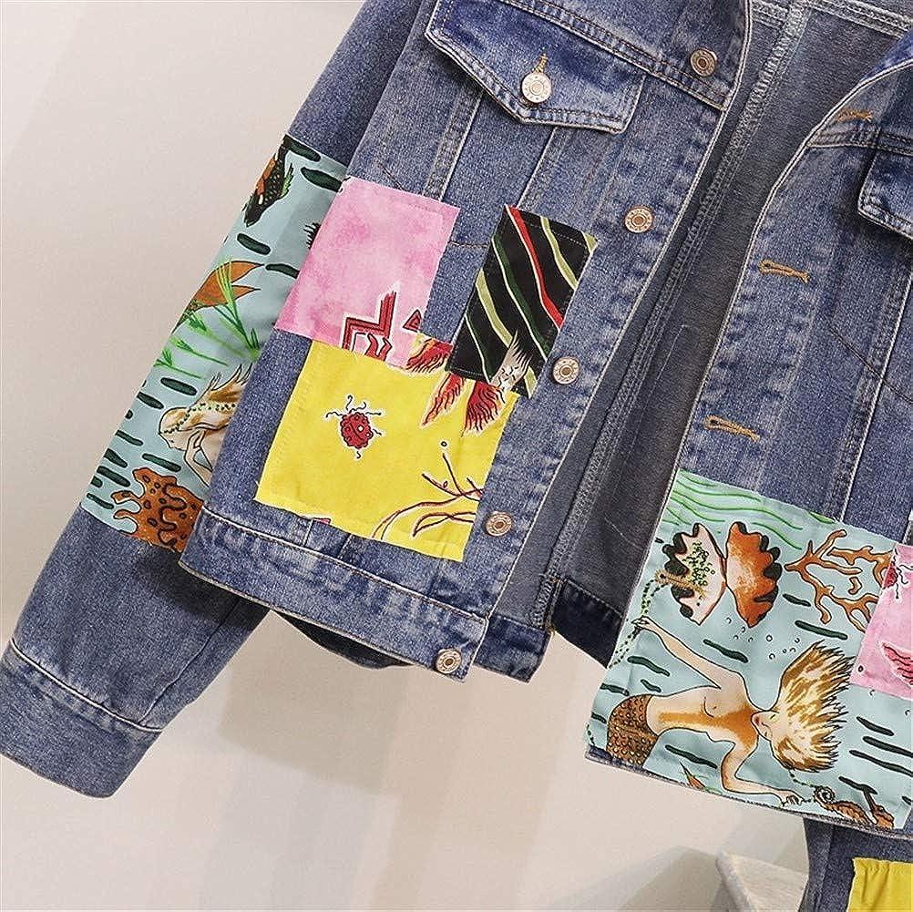 Txrh Giacca di jeans Boho Giacca di jeans femminile Vintage Cartoon Appliques Embroid Coat Jean impiombato tuta sportiva del denim Giacche for le donne Blue