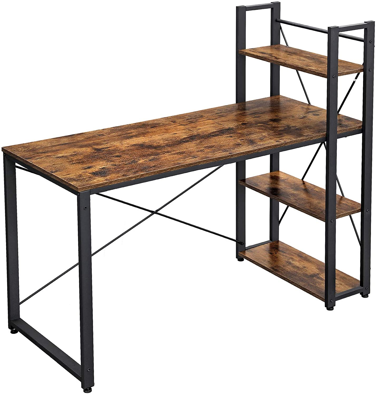 VASAGLE Computer Desk, 55 Inch Study Writing Desk with Storage Shelves for Home Office, Industrial Style PC Laptop Table, Easy Assembly, Sturdy, Rustic Brown and Black ULWD49X