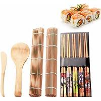Fu Store Sushi Making Kit Set 9 PCS-Sushi Rolling Mats Rice Paddle Rice Spreader Sushi Rolling Kit Bamboo Beginner Sushi Kit