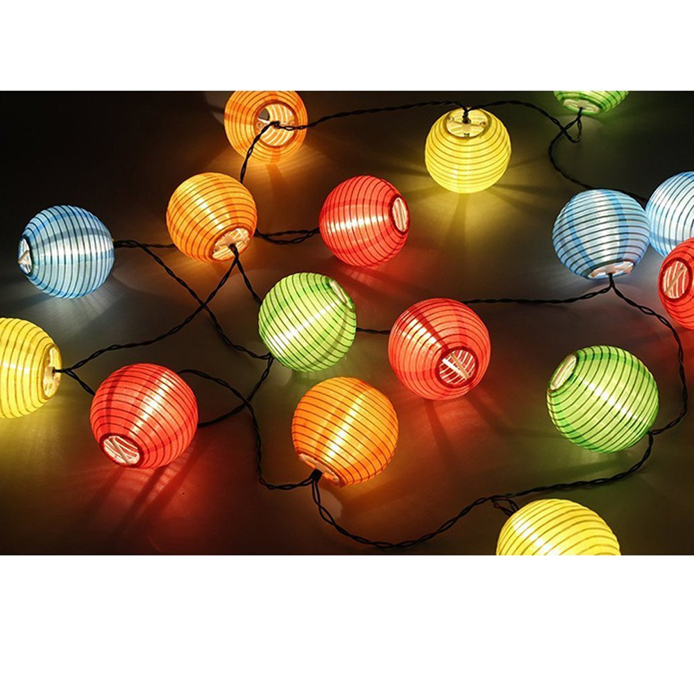 H+K+L 4.2 Meters Outdoor Fairy Lantern String Lights with Batteries Control, Decorative Lights for Party, Garden, Home, Wedding Lighting Decoration (Multicolor)