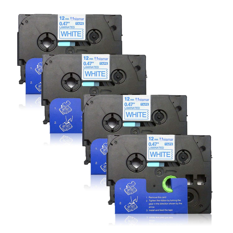 8 Pack Compatible TZe-231 TZe231 TZ-231 TZ231 Laminated Tape for Brother P-Touch PT-H110 PT-D210 PT-H100 PT-P700 PTD600 PT-1230PC PT-1890C PT-400AD PT-P750W PT-D450 PT-1880C PT-1890w PT-1010 Label Maker Black on White 12mm x 8m (1/2 x 26.2ft) by Unismar Un