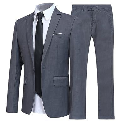 0794e4ba3 Costume Homme d'affaire en cérémonie Mariage Veste et Pantalon Deux pièce  Slim fit,Gris,S