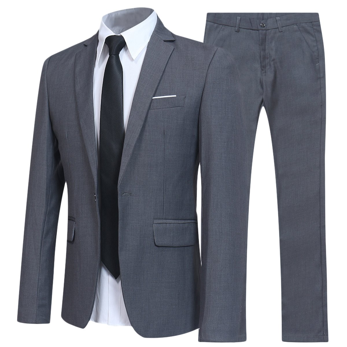 Slim Fit 2 Piece Suit For Men One Button Casual/Formal/Wedding Tuxedo,Grey,Medium
