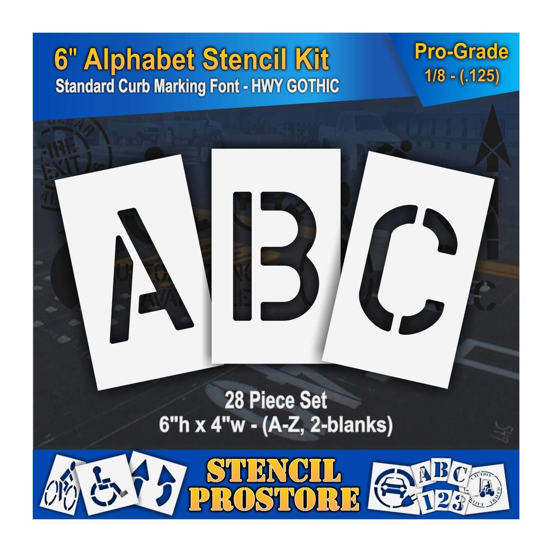 Curb and Median Stencils - 6 inch Alphabet KIT Stencil Set - (28 Piece) - 6'' x 4'' x 1/8'' (128 mil) - Pro-Grade