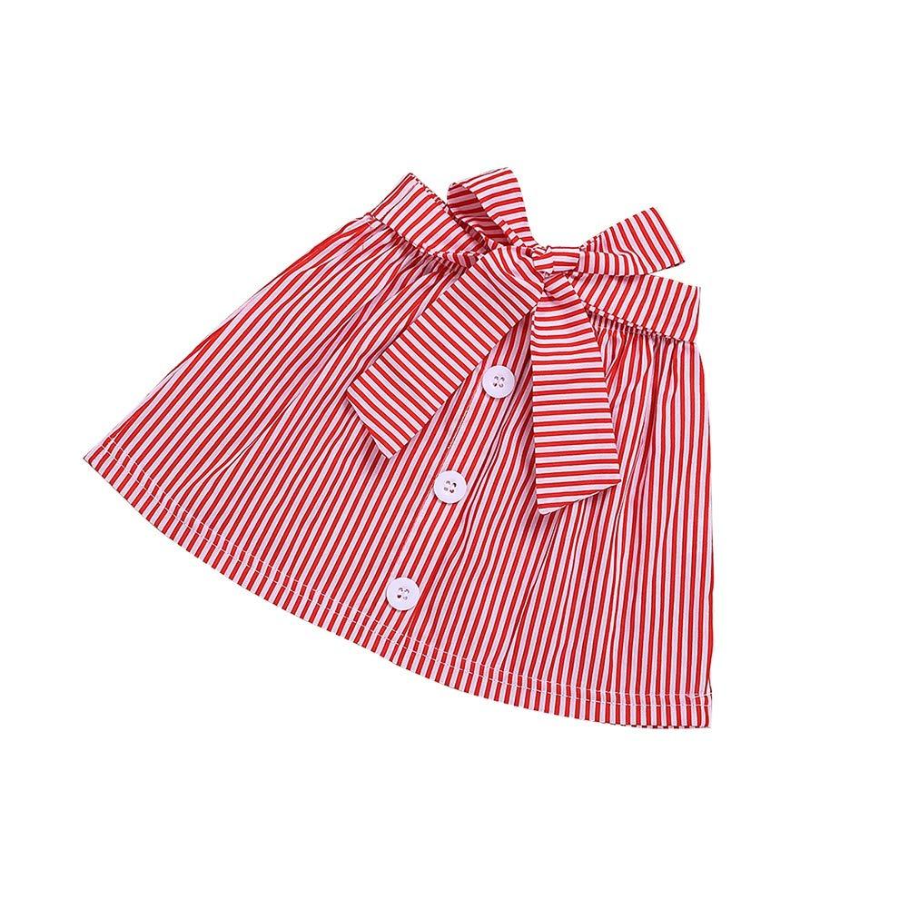 V/êtements B/éb/é /Ét/é 2PCs T-Shirt /à Pois sans Manches avec Jupe Ray/ée pour 1-6Ans BOBORA Ensemble B/éb/é Fille