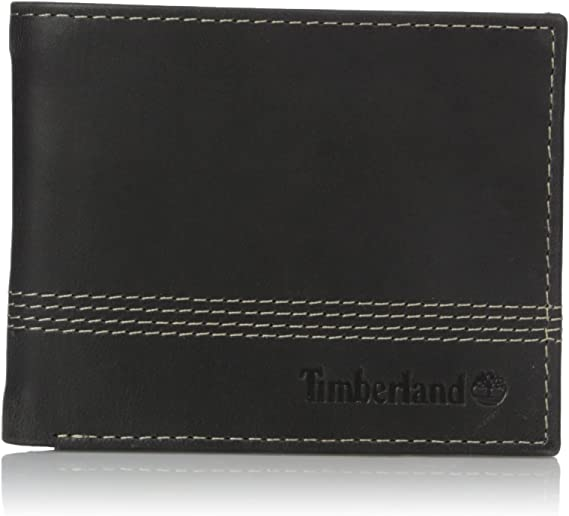 Timberland Men/'s Leather Slimfold Wallet Key Fob Gift Set Black NP0366//08