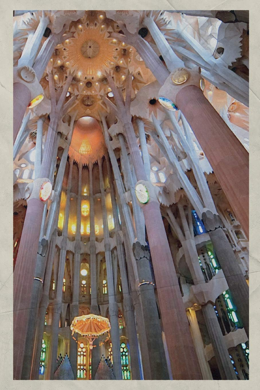 Notebook  Sagrada Familia Inside Chic Composition Book Daily Journal Notepad Diary Vintage Retro Poster Style For Fans Of Antonio Gaudi
