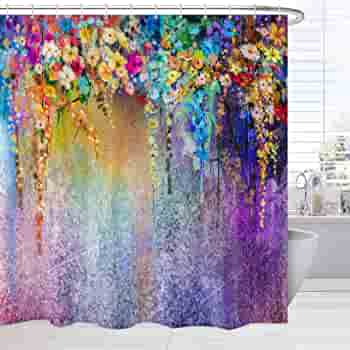 Broshan Watercolor Flower Shower Curtain 84 Inches Extra Long Spring Abstract Flower Wisteria Blossoms Art Print Bath Curtain For Girls Bathroom Purple Waterproof Fabric Bathroom Decor Set Kitchen Dining