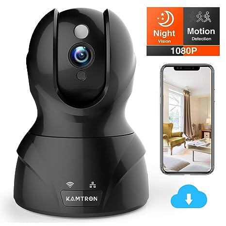KAMTRON WLAN IP Kamera FHD Überwachungskamera mit 350°/100°Schwenkbar,Home und Baby Monitor mit Bewegungserkennung, Zwei-Wege