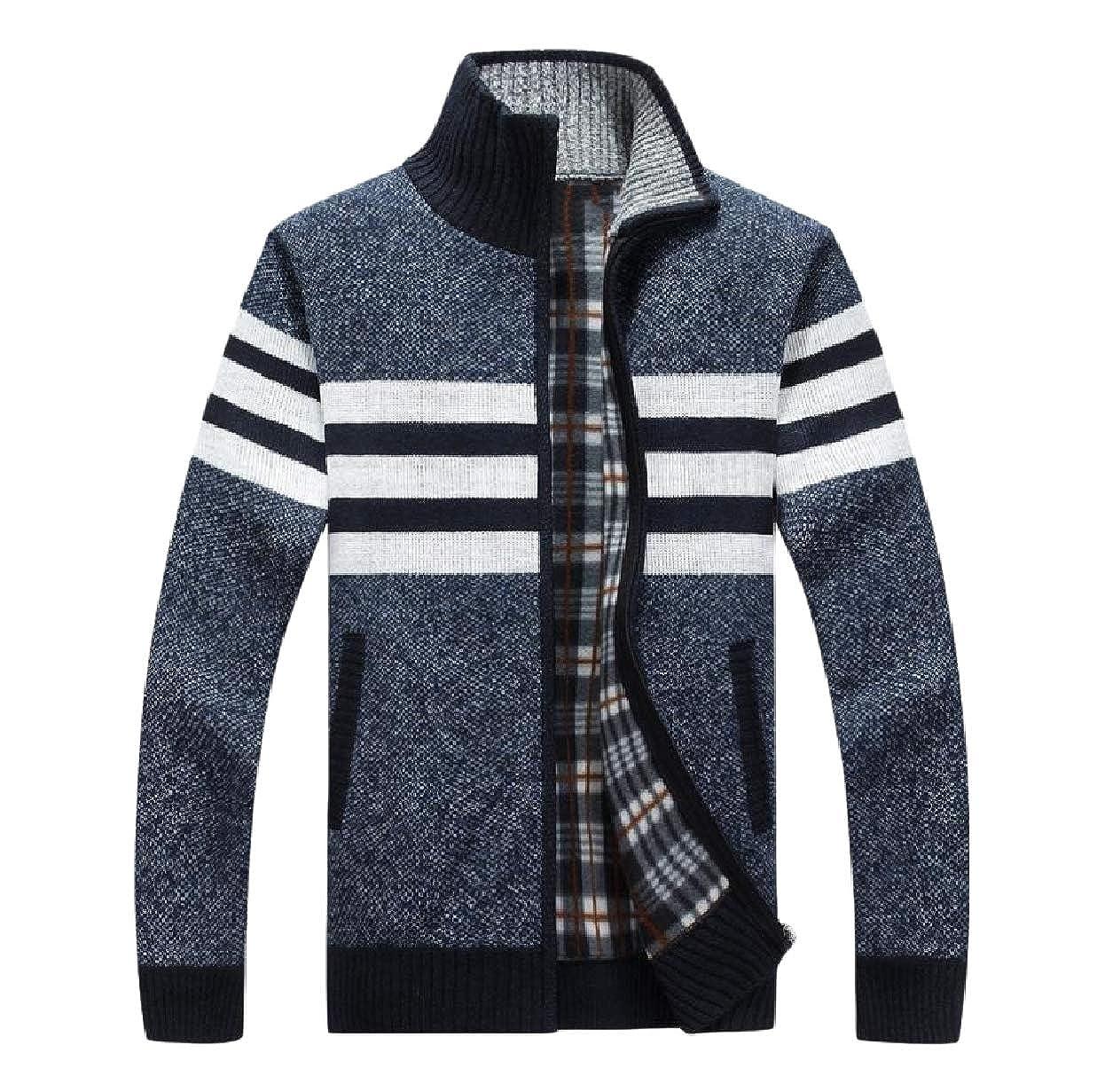 Winwinus Men Slim Fit Ribbed Sweater Knitting Twist Zipper Warm Open Front