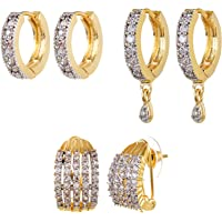 YouBella Stylish Party Wear Jewellery Gold Plated and American Diamond Studs Earrings for Women (Golden)(YBECB_08_FON)