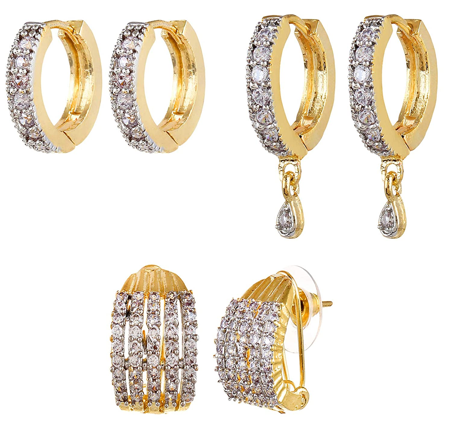 52112f50d YouBella Stylish Party Wear Jewellery Gold Plated and American Diamond  Studs Earrings for Women (Golden)(YBECB_08_FON): Amazon.in: Jewellery