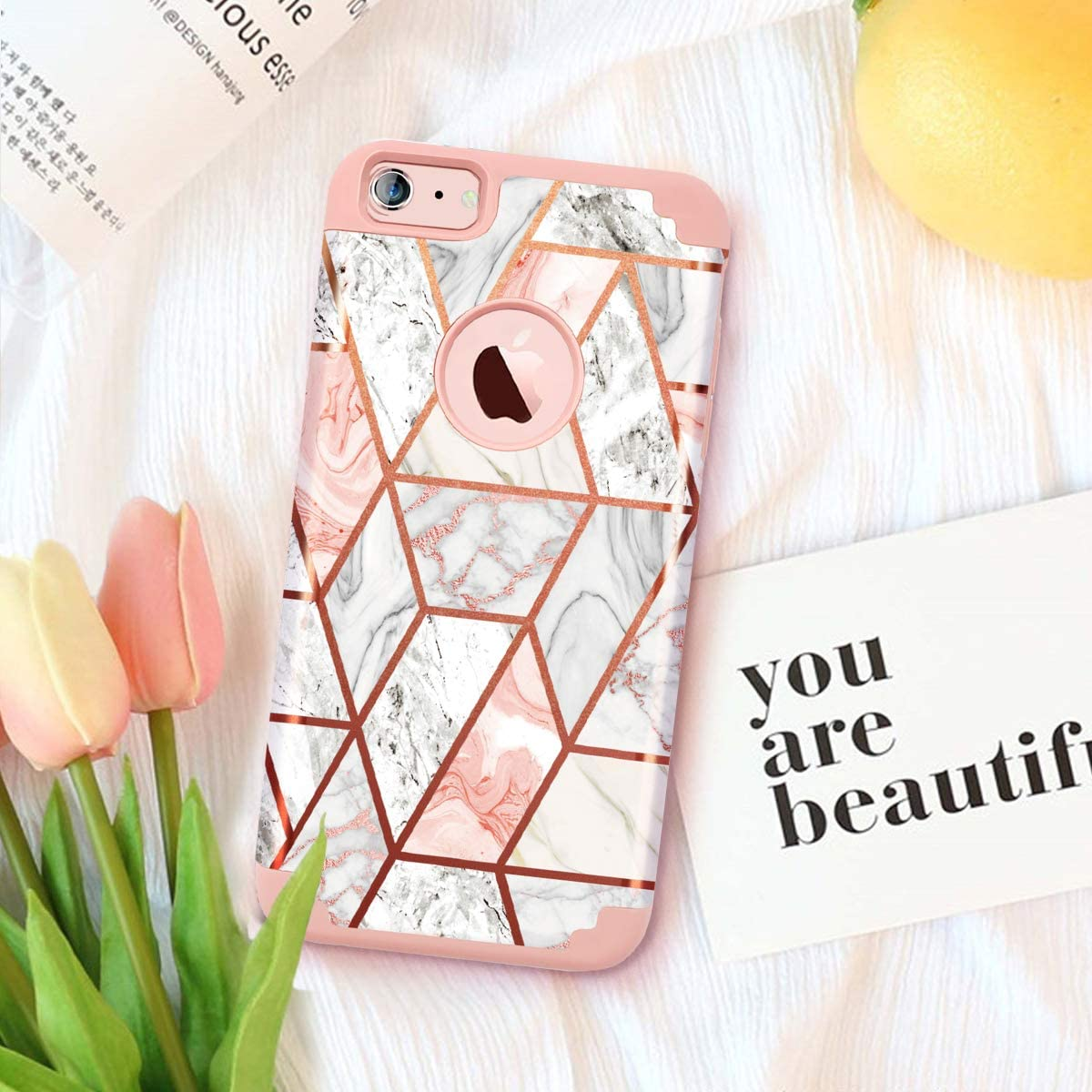 Fingic iPhone 6s Plus Case//iPhone 6 Plus Case Rose Gold Marble Design Shiny Glitter Bumper Hybrid Hard PC Soft Rubber Silicone Anti-Scratch Shockproof Protective Case for Apple 6 Plus 6s Plus 5.5 inch
