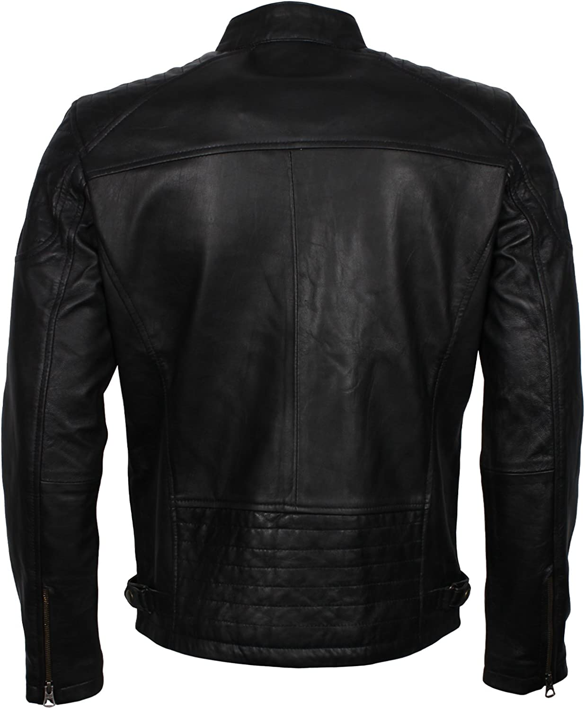 Classic Mens Quilted Designer Black Biker Leather Jacket