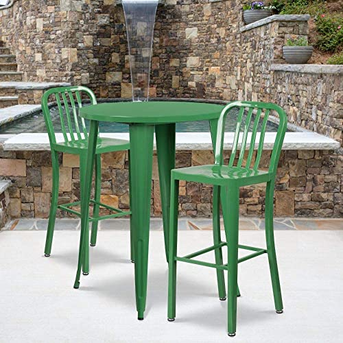 Flash Furniture Commercial Grade 30 Round Green Metal Indoor-Outdoor Bar Table Set with 2 Vertical Slat Back Stools