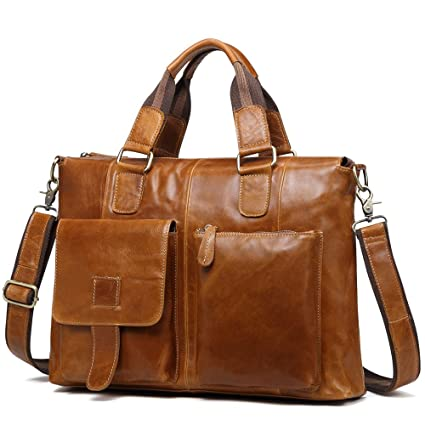 c65f8576c3933 Amazon.com  Kucspp 15.7 Inch Men s Messenger Bag Genuine Leather Laptop  Briefcase Working Bag  Computers   Accessories