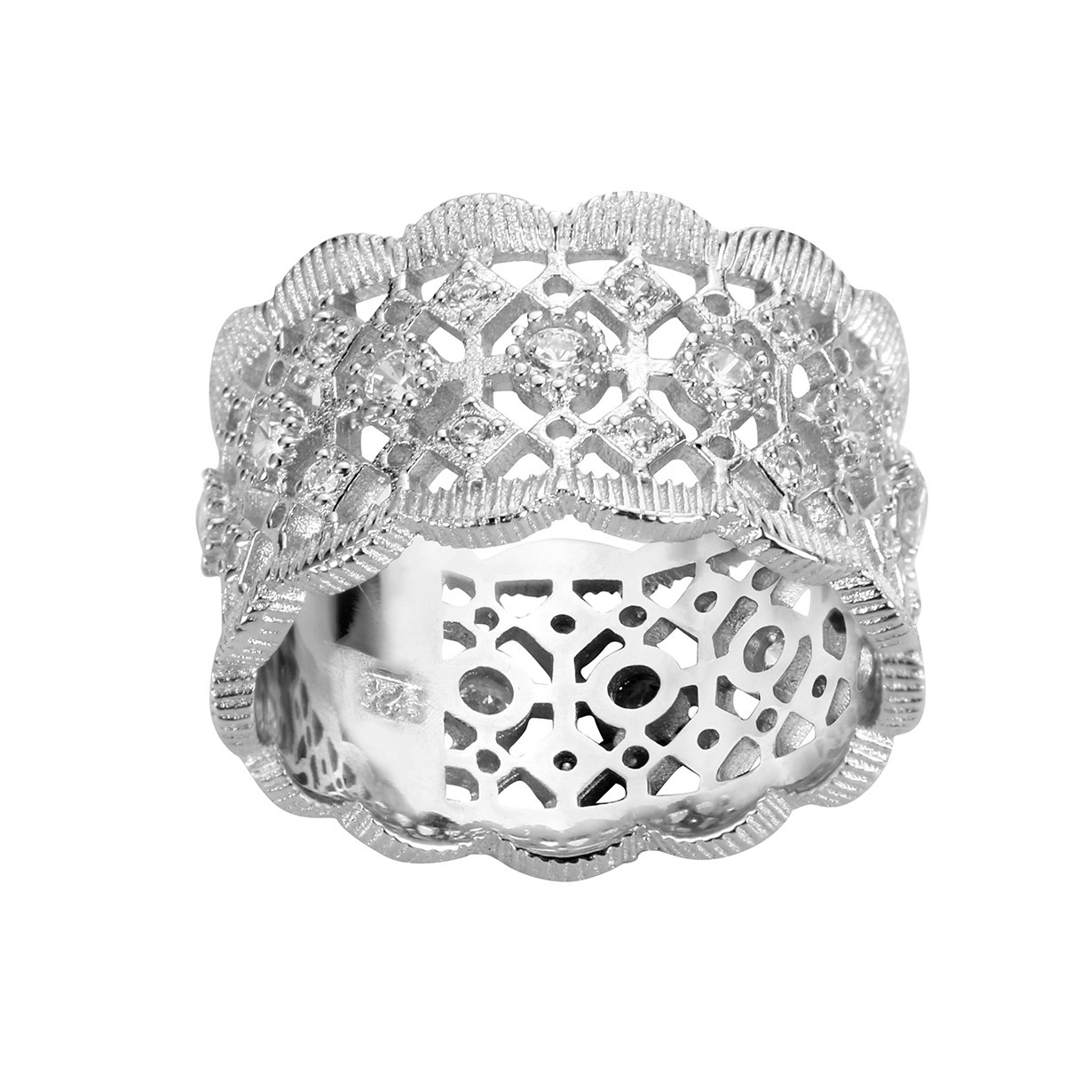 CloseoutWarehouse Cubic Zirconia Filigree Ring Sterling Silver Size 15