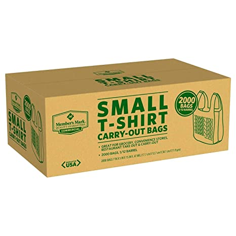 2000 Grocery/Convenience Store Small T-Shirt Carry-Out Bag Carryout 7 x 5 x 15 (Limited Edition)
