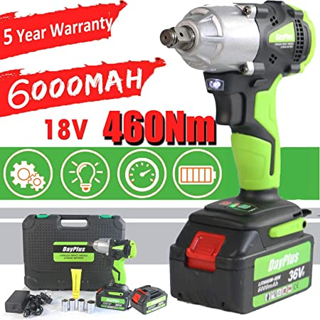 5 Year Warranty Cordless Impact Wrench 1//2 Inch Driver kit with 2Pcs 6000mAH Li-ion Batteries 460Nm Max Torque Variable Speed Control with 4 Sockets Fast Charger and Carry Case