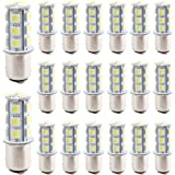 EverBright 20-Pack Extremely Bright White 1157 BAY15D 1016 1034 7528 1157A 2057 18-SMD 5050 LED Replacement for Car Bulb Tail Brake Light Bulb Backup Lamp Parking Side Marker Lights DC 12V