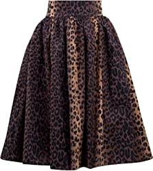 8a0f8dbf79ef Double Trouble Apparel Leopard Print Swing Skirt with Stretch Waist
