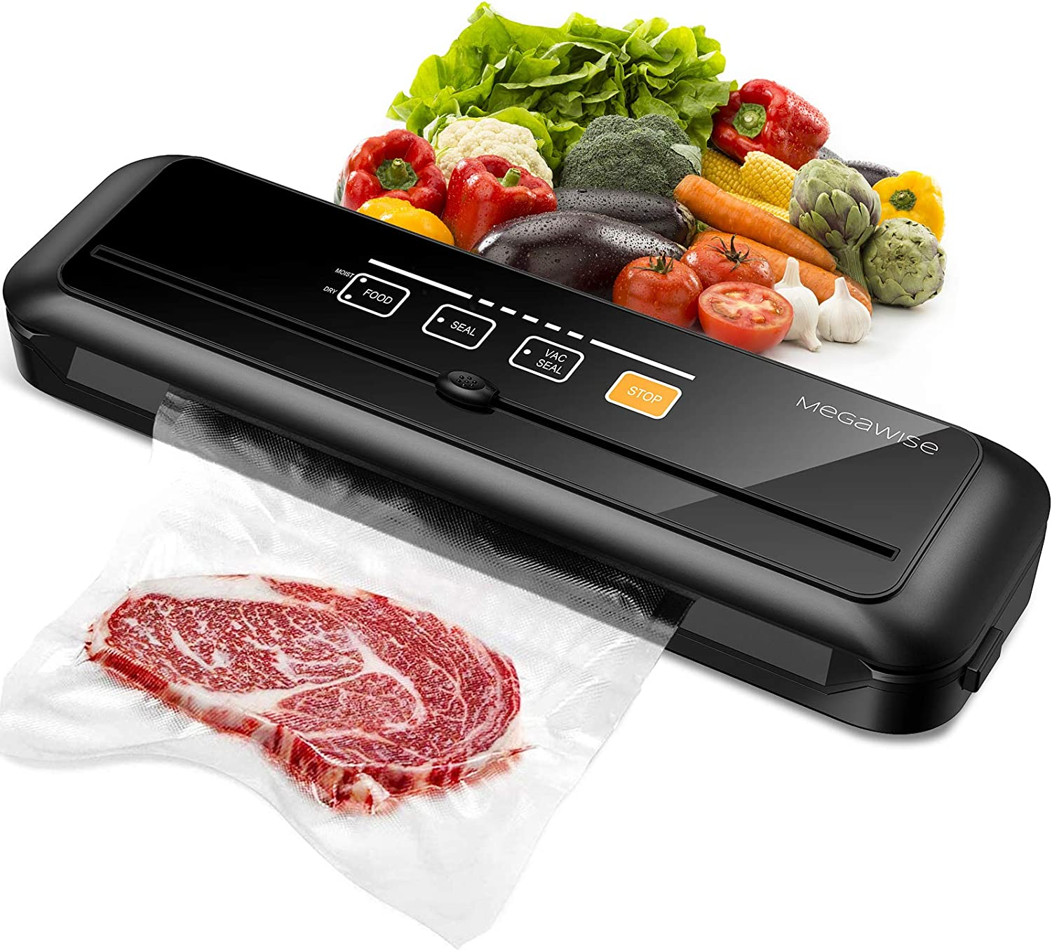 MEGAWISE 80kPa Vacuum Sealer, One-Touch Automatic Food Saver with Dry Moist Fresh Modes, Portable Vacuum Sealing Machine with 10 Vacuum Bags & Cutter
