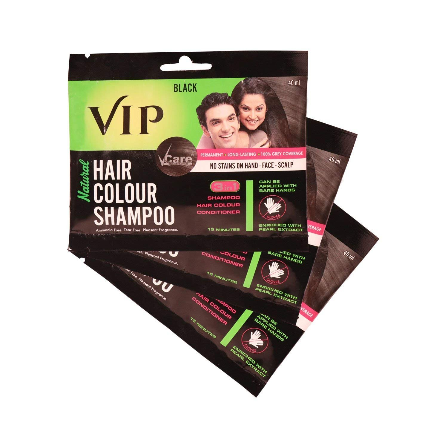 Buy Vcare Vip 3 In 1 Hair Colour Shampoo 40 Ml Online At Low Prices In India Amazon In