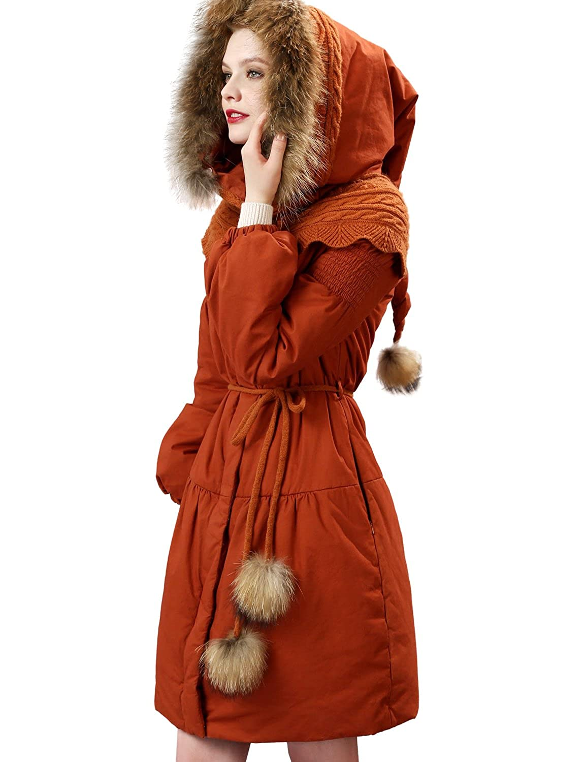 Artka Women's Fur Collar Down Alternative Long Parka Warm Winter Coat