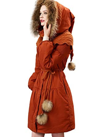 e615dc45f Artka Women's Fur Collar Down Alternative Long Parka Warm Winter Coat