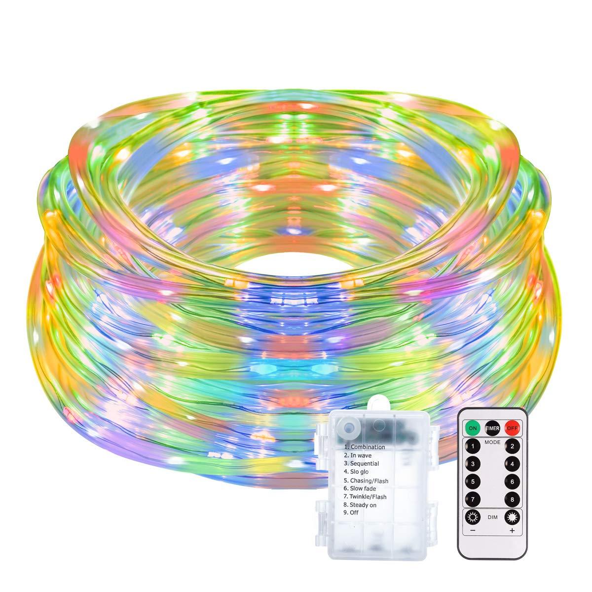 14M 120er LED Lichterschlauch mit Fernbedienung Timer B-right 8 Modi Led schlauch mit Memory-Funktion für Innen Außen Party Weihnachten IP65 Lichtschlauch Dekolicht Batteriebetrieben Bunt