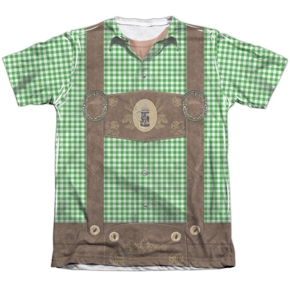 Oktoberfest Lederhosen Unisex Adult Front Only Poly/Cotton Sublimated T Shirt for Men and Women