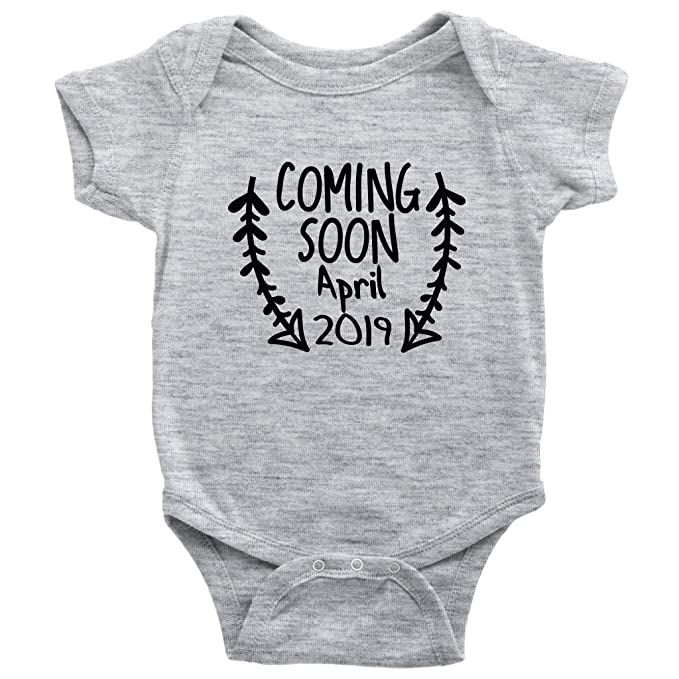 9c2f180d7 Amazon.com: Coming Soon April 2019 One-Piece Baby Birth Announcement  Bodysuit: Clothing