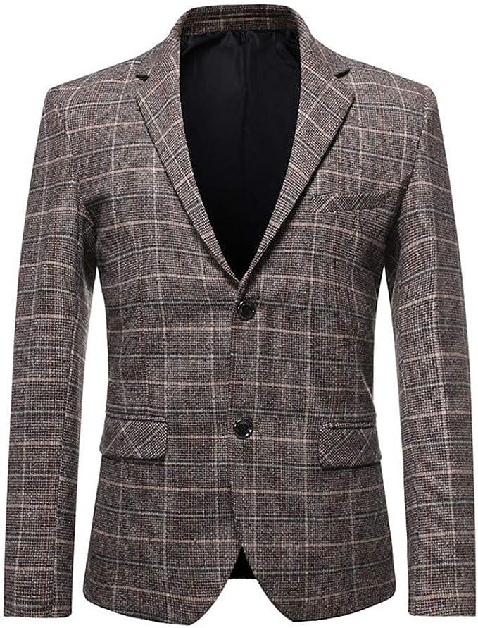Mstyle Womens Business Plaid Print One Button Slim Lapel Collar Blazer Jacket Suit Coat