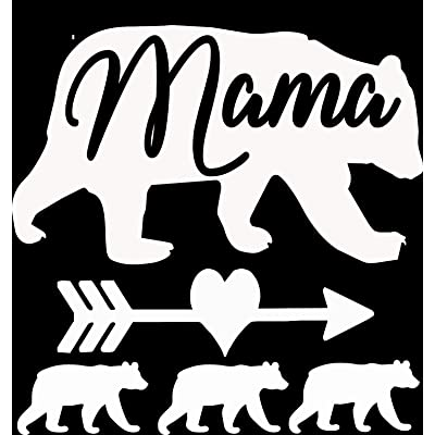 "Mama Bear 3 Cubs Vinyl Decal 5""X5"" White: Automotive"