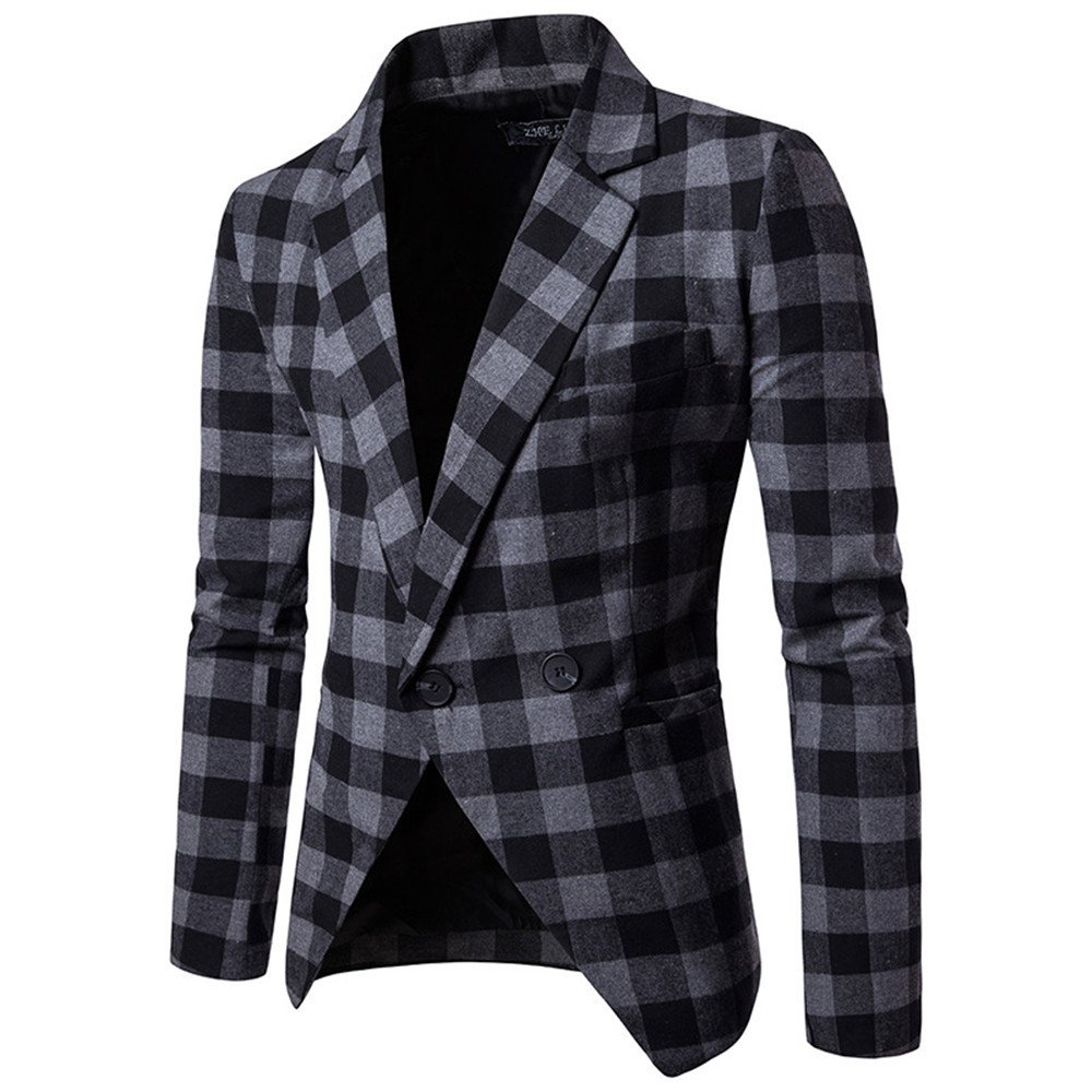 Sndofej männer im Anzug - Revers am Revers EIN Anzug männer zwanglos Anzug Slim - Anzug,die schwarz - grauen,m